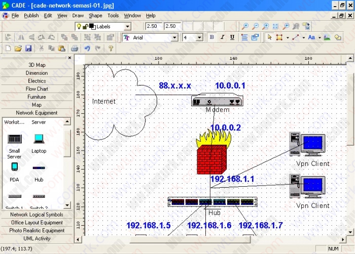 cade network semasi 01 700x502 Network şeması çizimi   cade