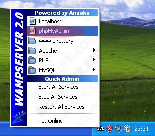wamp server mysql root sifresini degistirmek 01 wampServer MySQLe root parolası verilmesi