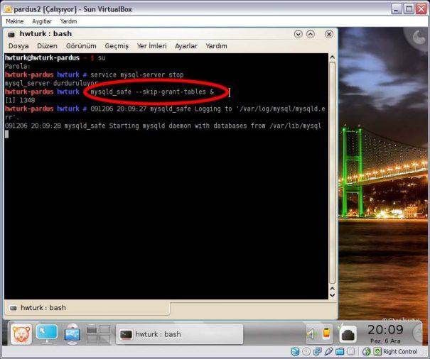 Pardus mysql sifre sifirlama 02 605x506 Pardus Mysql Şifre Sıfırlama