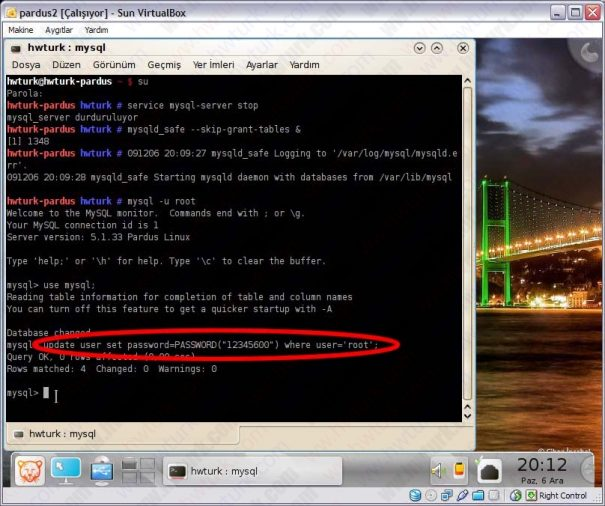 Pardus mysql sifre sifirlama 05 605x506 Pardus Mysql Şifre Sıfırlama