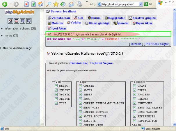 wamp server mysql root sifresini degistirmek 05 605x453 wampServer MySQLe root parolası verilmesi